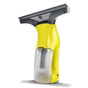 Limpiador de vidrios color amarillo que no deja marcas, se hace sin esfuerzo y es 3 veces más rápida