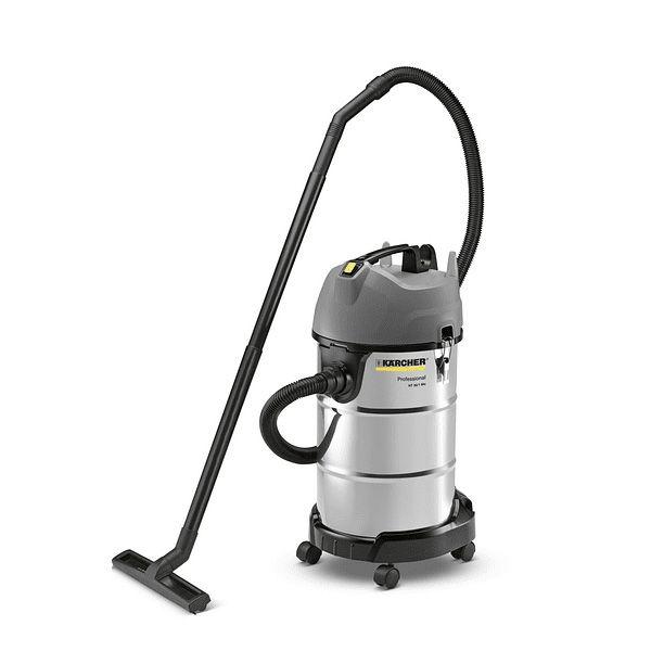 Aspiradora de uso profesional de color gris, para polvo y aguase eliminan fácilmente grandes cantidades de líquidos, polvo o suciedad gruesa gracias a la potente turbina de 1500 W.
