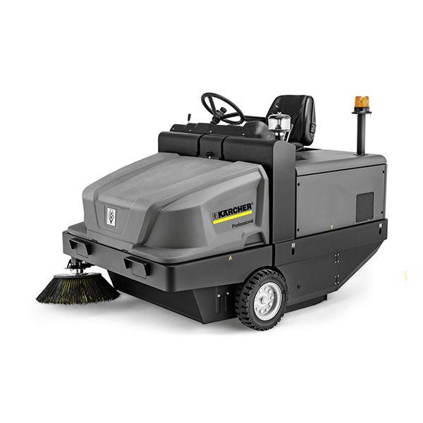 Barredora- aspiradora de color gris, para uso profesional, con filtro de bolsa, gran depósito para la suciedad, chasis de acero robusto, manejo sencillo de la palanca.