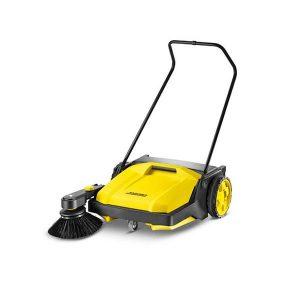 Barredora de color amarillo, limpia cinco veces mas rapido que una escoba, ademas de serresistente a la corrosión y a las roturas se arrastra con facilidad y es muy maniobrable
