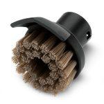 Gran cepillo redondo con cerdas resistentes al calor y un rascador para eliminar la suciedad incrustada