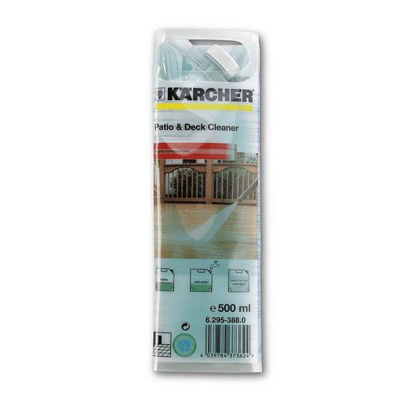 Concentrado de detergente en una práctica bolsa para patio & deck. La fórmula Karcher elimina aceites, grasas, emisiones contaminantes y capas de moho en balcones, terrazas de madera y piedra protegiendo el material en un 100%.