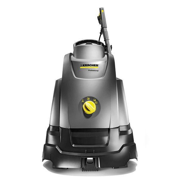 Hidrolavaadora de agua caliente, color gris, de uso profesional. Tiene unrendimiento de limpieza altamente eficaz garantiza la combinación de tecnología de boquillas patentada, turboventilador y un mayor rendimiento de la bomba.