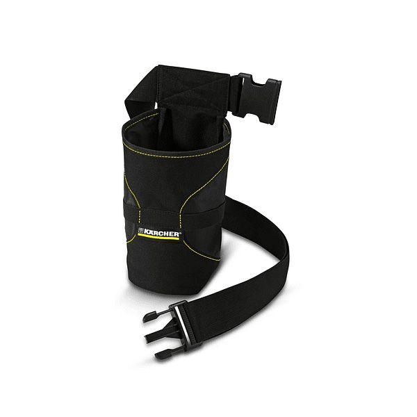Práctico cinturón, color negro con bolsa para guardar la limpiadora de cristales y la botella pulverizadora