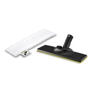 Boquilla para suelos EasyFix para limpiadoras de vapor incluye un paño para suelos de microfibra adaptado y ofrece unos resultados de limpieza excelentes en suelos duros, incluso en rincones y bordes