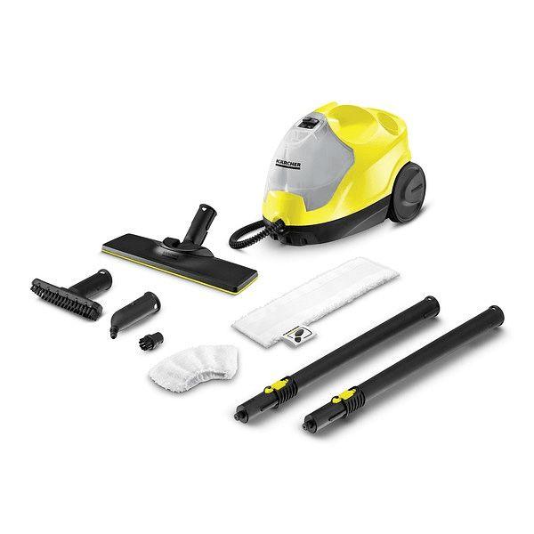 Limpiadora a vapor, color amarillo y gris, sirve para limpiar suelos, grifería, ventanas, espejos, campanas, baños