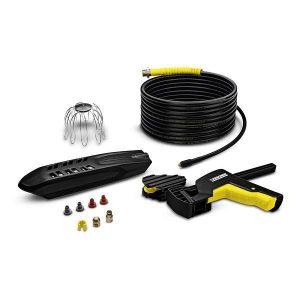 El set para limpieza de tuberías y canaletas de 20mts de longitud funciona por sí solo, con alta presión