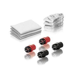 El juego de accesorios universal para limpiadoras de vapor permite una limpieza sencilla de diferentes suelos y muchas otras superficies habituales en el hogar. Incluye paños para limpieza y cepillos