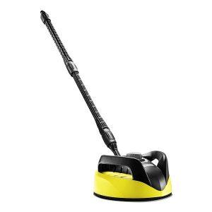 Escoba electrica color amarillo y negro Para limpiar sin salpicaduras las superficies más variadas. Adaptación de la distancia entre boquillas para limpiar diferentes superficies, como piedra y madera, y asa para limpiar superficies verticales, por ejemplo, puertas de garajes. Para equipos de las gamas de K 2 a K 7.