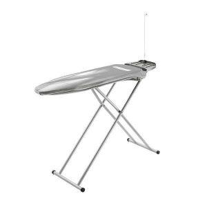 Tabla de planchado, color gris, con función de soplado, aspiración de vapor activa y ajuste de altura de 6 niveles