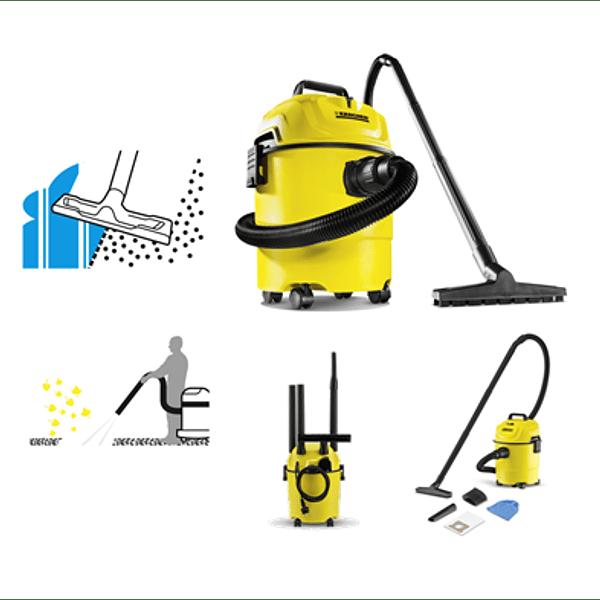 aspiradora multiuso de color amarillo con gran potencia de aspiración, su práctica función de soplado y eficiencia energética. Todo esto con un consumo eléctrico de tan solo 1000W.