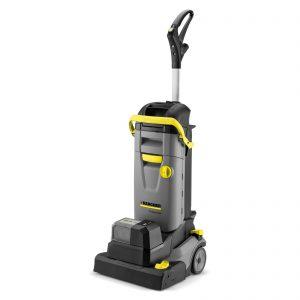 Vacuolavadora color gris, de uso profesional. Esta máquina inalámbrica altamente móvil es ideal para limpiar pisos en pequeñas tiendas, restaurantes, estaciones de servicio, supermercados