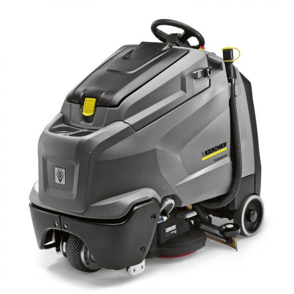 Vacuolavadora color gris, de uso profesional es una fregadora-aspiradora compacta y configurable con conductor de pie que cubre una superficie muy extensa con una visión óptima en todo momento